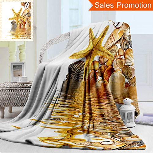 Unique Custom Warm 3D Print Flannel Blanket Seashells Decor Shells And Starfish Reflection On Water Golden Color Wellness Spa Nat Cozy Plush Supersoft Blankets for Couch Bed, Throw Blanket 50