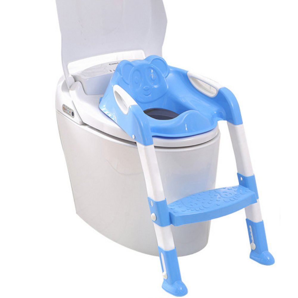 GrowRight Safe and Secure, Adjustable Polypropylene Toilet Potty (Blue_Step)