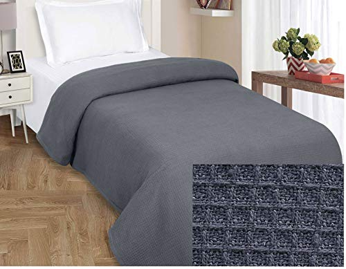 - FarmHouse Throw Blanket In Waffle Weave Full Queen-90x90 Charcoal Perfect For Layering To Any Bed , All season Cotton Thermal Blanket,Throw Blanket,Summer Blankets, Lightweight Blankets Queen Size
