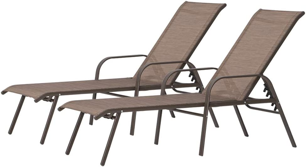 Crestlive Products Adjustable Chaise Lounge Chair Five-Position and Full Flat Outdoor Recliner, All Weather for Patio, Beach, Yard, Pool (2PCS Brown)
