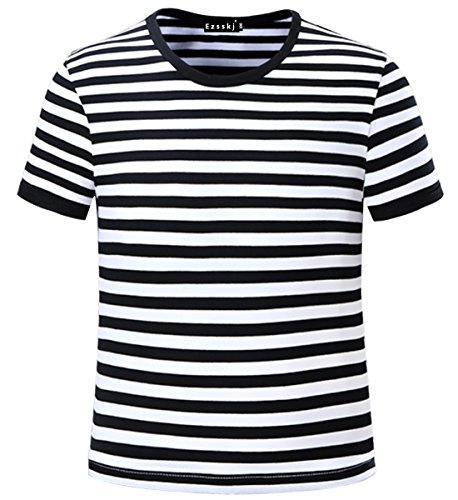 Ezsskj Kids Boys Children's Toddler Striped T Shirts Short Sleeve Crew Neck Stripes Tee Black/White 12]()