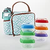 Fit & Fresh Roseville Insulated Lunch Bag with Meal Prep Containers & 24 ounce Jaxx Water Bottle/Shaker (Aqua Victory Garden)