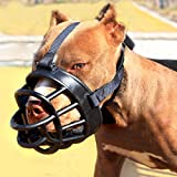 Moonpet Silicone Rubber Basket Dog Muzzle - Anti Chewing Biting Barking - Soft Adjustable Breathable Safety Mask for Small Medium Large Dogs Mouth Cover - Size 3