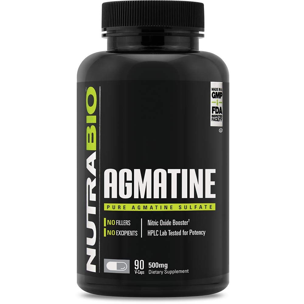 NutraBio Agmatine Sulfate Supplement (500mg, 90 Capsules)