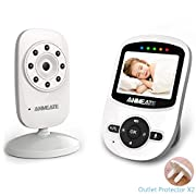 Video Baby Monitor with Camera and Infrared Night Vision, Two-Way Talkback, and Temperature Monitor – Long Range, Monitor Your Baby All Round The Clock,Include Compatible Mount Shelf (white2)