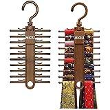 MIQU 2-Pack Brown Tie Rack,Organizer, Hanger, Holder,Non-Slip Tie,up to 20 Tie,Multi-Use Space-Saving Plastic Organize