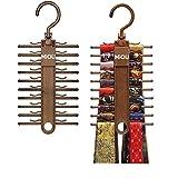 Best Tie Racks - MIQU 2-Pack Brown Tie Rack,Organizer, Hanger, Holder,Non-Slip Tie,up Review