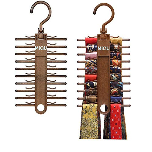 MIQU 2-Pack Brown Tie Rack,Organizer, Hanger, Holder,Non-Slip Tie,up to 20 Tie,Multi-Use Space-Saving Plastic Organize