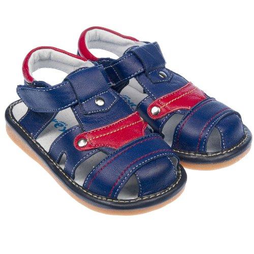 Freycoo enfant garçon avec couineur pour enfants En cuir véritable-Chaussures Sandales Bleu marine & Rouge