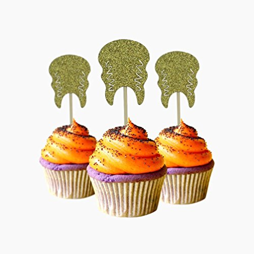 Bride Monster Halloween Cupcake Topper 12 pieces per Pack Decoration Cake glitter Card Stock Gold