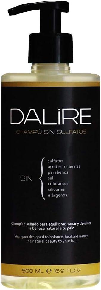 Champú sin sulfatos Dalire 500ml. Mejor Champú 2021. Premio HealthHair 2021. Fabricado en España. El más usado por Dermatólogos y Peluquería. Sin Parabenos, Sin Sal, Sin tóxicos