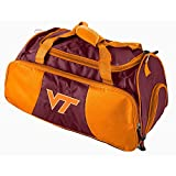 Dark Purple Orange Virginia Tech Duffle Bag, Team Logo Front, Polyester