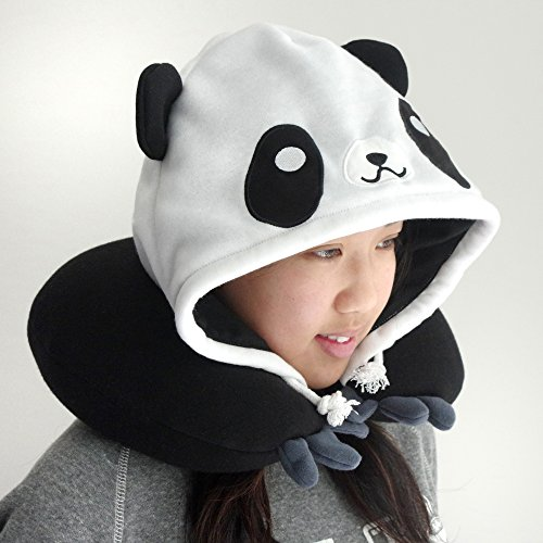 Panda Hooded Animal Plush Neck Pillow, Microbeads for Comfort with Adjustable Drawstring, Perfect For Airplane Travel, Neck Support, as a Panda costume, Gift for Panda Lovers, Designed In Japan by Chibiya (Image #1)