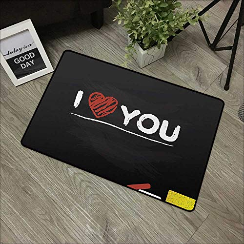 (Moses Whitehead Bathroom Entry Rugs I Love You,Cartoon Illustration of a Blackboard with Charcoal Written Wording and Heart,Multicolor,for Indoor/Outdoor/Front Door/Shower Bathroom 35