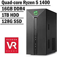 HP Pavilion Power Gaming Desktop Flagship VR Ready Edition AMD Quad-core Ryzen 5 1400 | 16G DDR4 | 1TB HDD + 128G SSD | VR-ready AMD Radeon RX 580 4G graphics | Windows 10