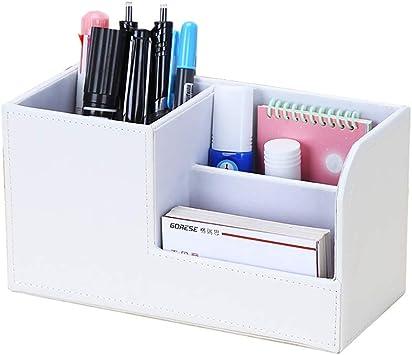 Organizador de Escritorio Blanco, Caja de Almacenamiento de Control Remoto multifunción de Cuero de la PU/Soporte para lápiz, Organizador de Suministros de Escritorio de Oficina (Color : Blanco): Amazon.es: Electrónica