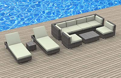 Urban Furnishing.net - IBIZA 10pc Modern Outdoor Backyard Wicker Rattan Patio Furniture Sofa Sectional Couch Set