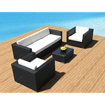 Outdoor Patio Furniture Sofa All Weather Wicker Sectional 4pc Resin Couch  Set