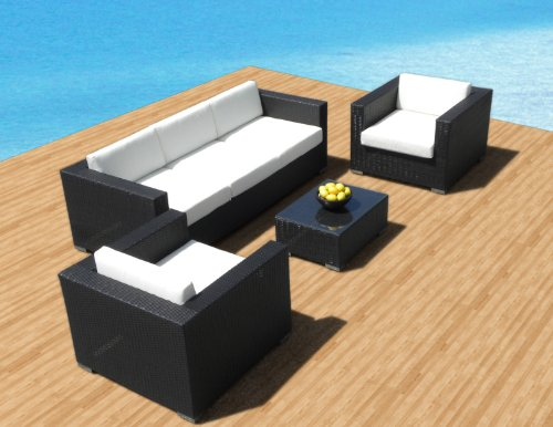 Outdoor Patio Furniture Sofa All-Weather Wicker Sectional 4pc Resin Couch Set price