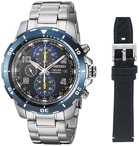 Seiko Men's Chronograph Japanese-Quartz Watch with Stainless-Steel Strap, Silver, 20 (Model: SSC637) (Seiko Watches For Men Ssc)