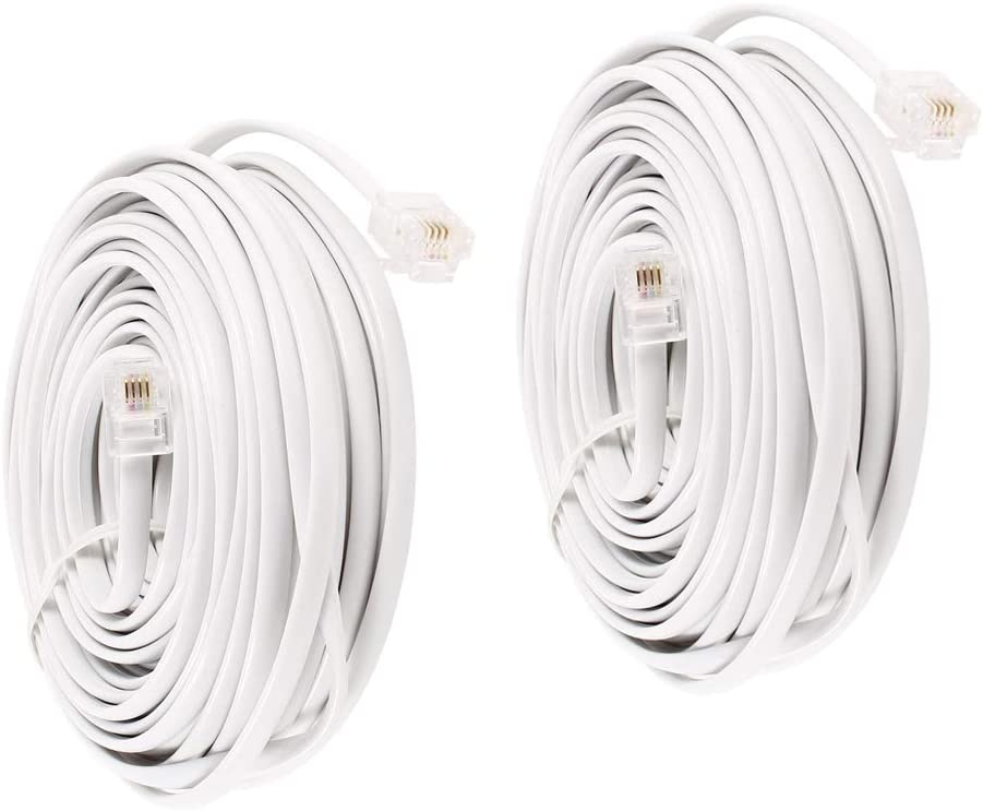 Uvital 15 Feet Telephone Landline Extension Cord Cable Line Wire with Standard RJ-11 6P4C Plugs Black 4.6M,1Pack