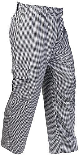 Mercer Culinary M61051HTM Genesis Men's Chef Cargo Pant in Hounds Tooth, Medium, - Pants Culinary Chef