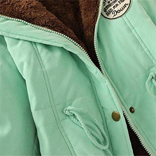 Parka Abrigos Abrigo Mujeres Caliente Desgastar de Chaqueta de Verde Cuello de Outwear Largo Chaqueta Capa Invierno Piel con IMJONO Capucha twgTpq7q