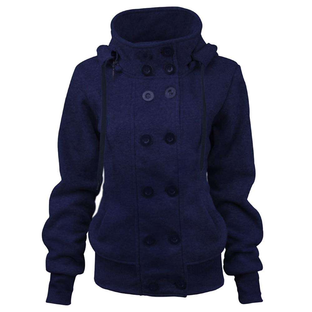 AOJIAN Women Jacket Long Sleeve Outwear Double Breasted Hooded Pure Color Outcoat Coat Navy
