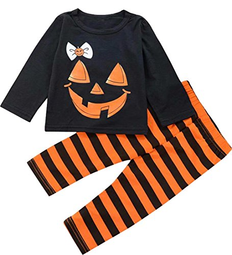 Toddler Girls Pumpkin Face T Shirt Tops+Striped Pants Halloween Outfit Pajamas Set Size 6-12 Months/Tag80 (Black)