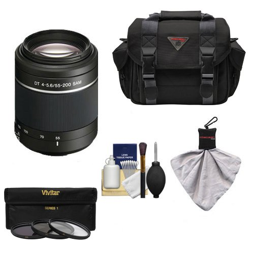 Sony Alpha DT 55-200mm f/4-5.6 SAM Zoom Lens with Case + 3 UV/ND8/CPL Filter Set + Cleaning Kit for A37, A58, A65, A68, A77 II, A99 Cameras
