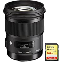 Sigma 50mm f/1.4 DG HSM Lens for Canon EF Cameras includes Bonus Sandisk 64GB Memory Card