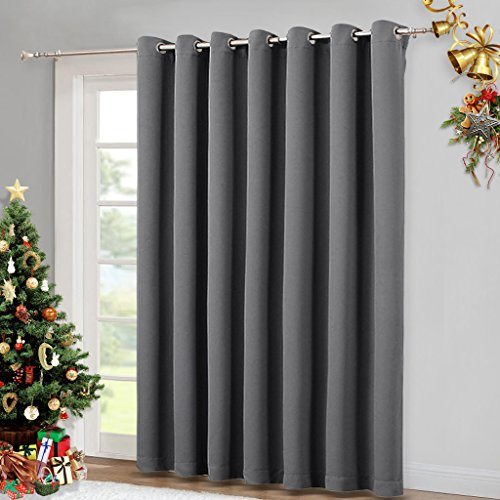 NICETOWN Patio Sliding Door Curtain - Wide Blackout Curtains, Keep Warm Draperies, Grey Sliding Glass Door Drapes (Gray, 100 inches W x 84 inches L) (Nice Patio)