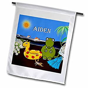 SmudgeArt Male Child Name Design - Aiden - Tyrannosaurus Rex at the Beach with name - 18 x 27 inch Garden Flag (fl_50045_2)