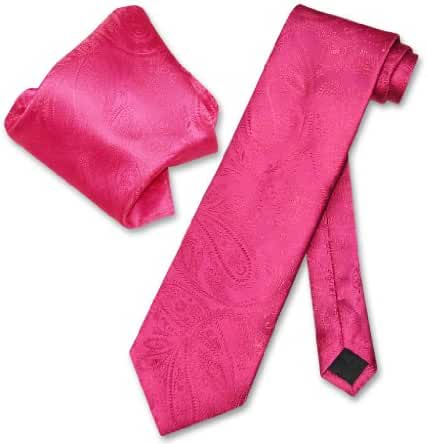 Vesuvio Napoli Hot Pink Fuchsia PAISLEY NeckTie & Handkerchief Matching Tie Set