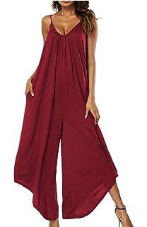 a20845fdb711 Yayu Women s Fashion Summer Spaghetti Strap V-Neck Side Pockets Loose Maxi  Dress
