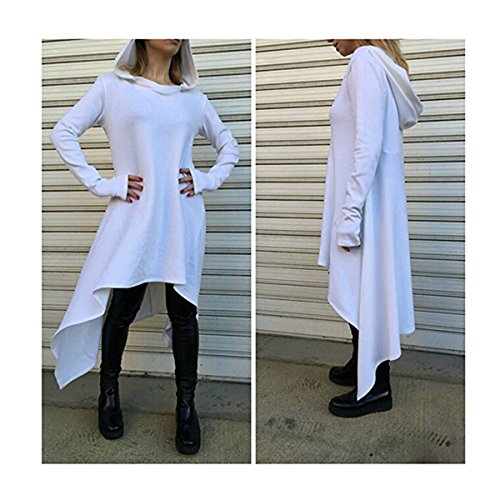 Womens Irregular Hem Double Slit Loose Long Sleeve Hooded Sweater Tunic Dress White XXL (Hood Dress)
