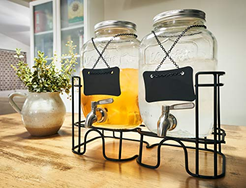 Double Clear Glass Jars Drink Dispenser With Steel Spigot (LEAK PROOF), Metal Dispenser Stand And Reusable Chalkboard Labels
