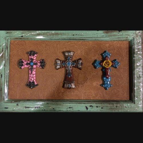 (framed cross wood frame small cross 19