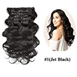 Urbeauty Wavy Clip ins Hair Extensions Human Hair, 18' Jet Black Body Wave Clip in Remy Human Hair Extensions for Women 7Pcs/100g