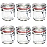 Set von 6Große Klar Glas Clip Top Spice Aufbewahrung Set Einmachglas Küche Kräuter Behälter Jam Kanister