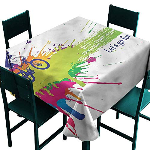 - DONEECKL Oil-Proof and Leak-Proof Tablecloth Colorful Biker Splashes of Color Great for Buffet Table W36 xL36