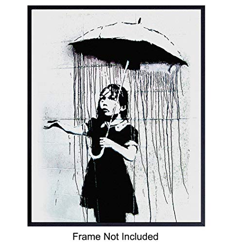 Banksy Umbrella Girl Graffiti 8x10 Wall Decor Picture - Modern Art Decoration Poster for Home, Apartment, Office, Dorm, Living Room, Bedroom, Bathroom - Gift for Contemporary Urban Street Mural Fans