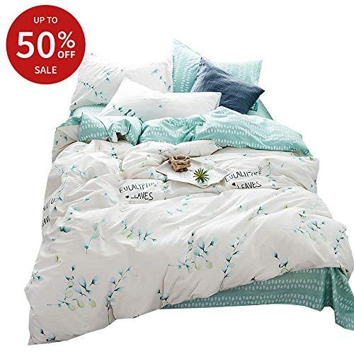 BuLuTu Green Leaves Print Pattern Cotton Twin Kids Duvet Cover Sets White Reversible Fresh Bedding Cover Sets for Boys Girls Hidden Zipper Closure with 4 Corner Ties (No Comforter)