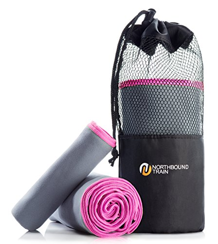 Northbound Train Fast Drying Microfiber Towel Set for Gym, Travel, Camping, Hair. Large Bath and Sports Towels + Compact Mesh Pack. Super Absorbent, Anti-Bacterial, Quick Dry Technology Plus.