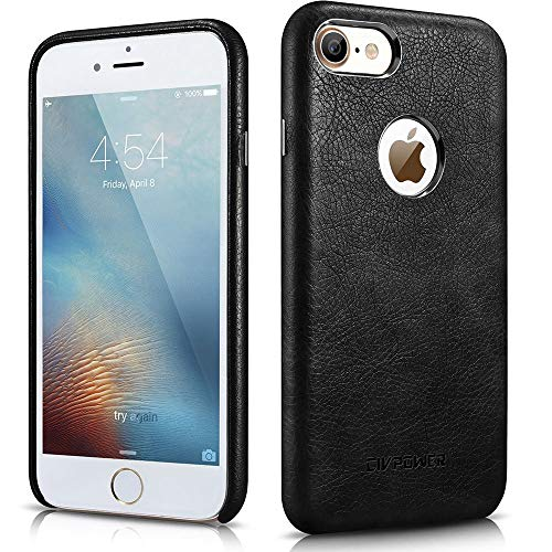 Leather Cover Black (iPhone 8 Leather Case - iPhone 8 Case Leather - Premium PU Leather Case Best Vintage Cellphone Protective Back Cover – Luxury Ultra Slim Thin Fit Phone Faux Leather Case Apple iPhone 8 - Black)