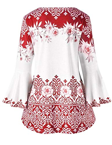 ca58e1746c373 Women Printed Flare Tunics Floral Vintage Blouses Long Flower Bell Sleeve  Keyhole T-Shirts Plus Size Tops