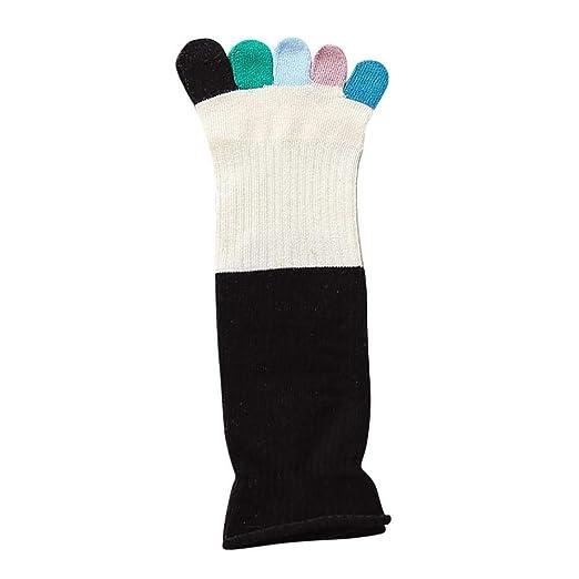 VJGOAL Mujeres Calentador Respirable Colorido Calcetines del dedo del pie Calcetines de cinco dedos Algodón Suave Calcetines divertidos(Un tamaño, ...