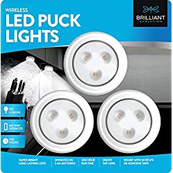 Brilliant Evolution BRRC133 Wireless LED Puck Light 3 Pack - Operates On 3 AA Batteries - Kitchen Under Cabinet Lighting