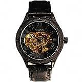 SEWOR Men's Business Luxury Automatic Mechanical Wrist Watch Leather Strap Roman Number Vintage Black Case Skeleton Dial +Box