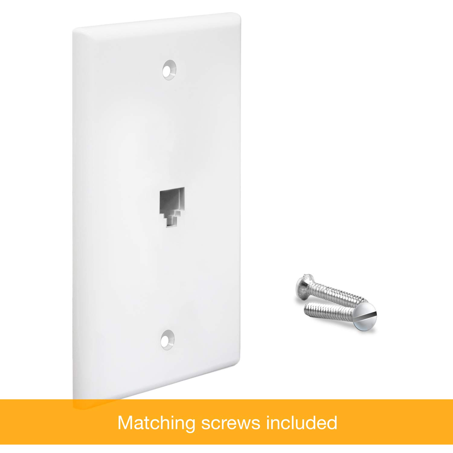 Single Port 2-Line Support 6611-W White 6-Position 4-Conductor ENERLITES RJ11 Telephone Jack Wall Plate by 1-Gang White Standard Size